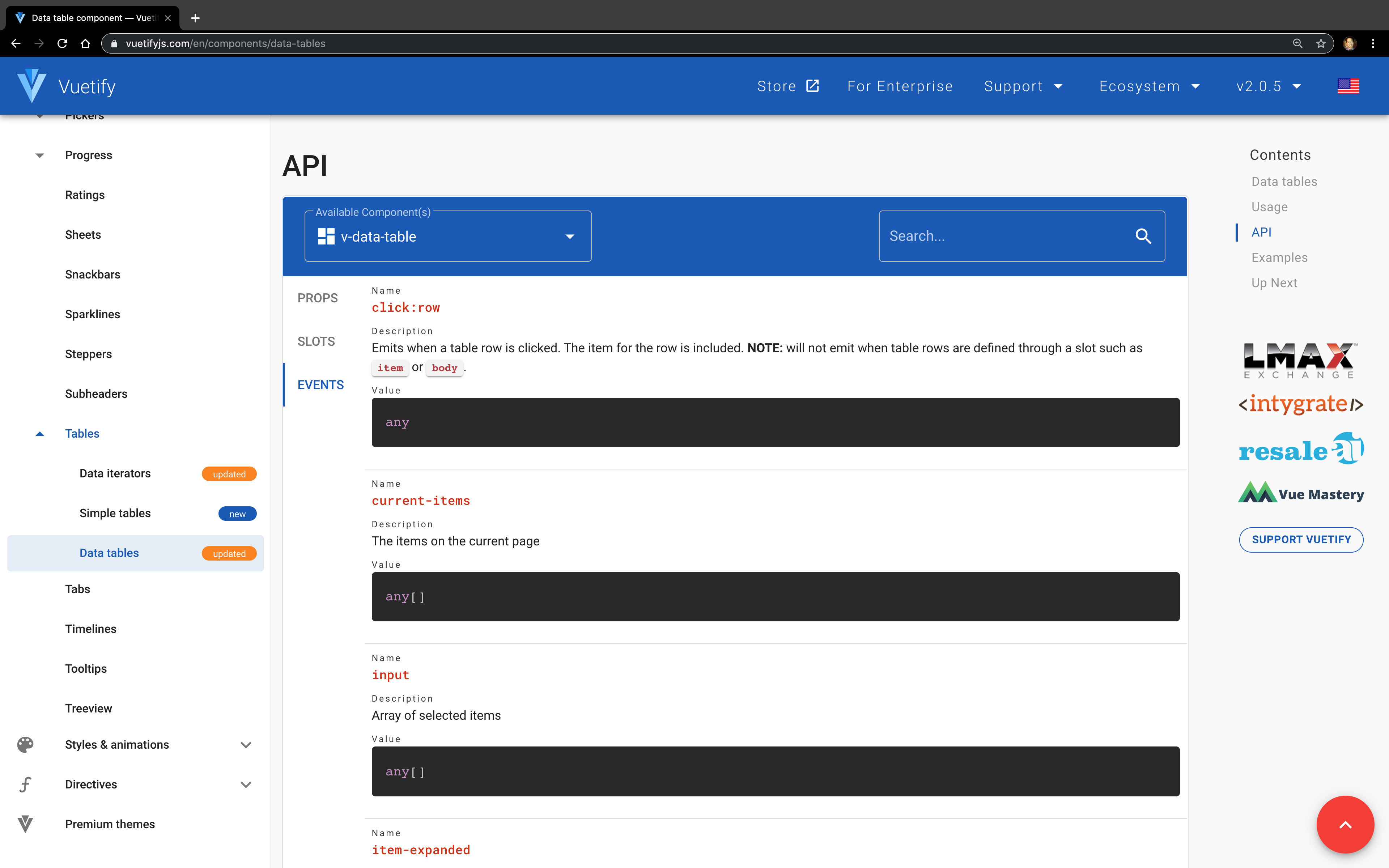 Screenshot of Events API for Data Table