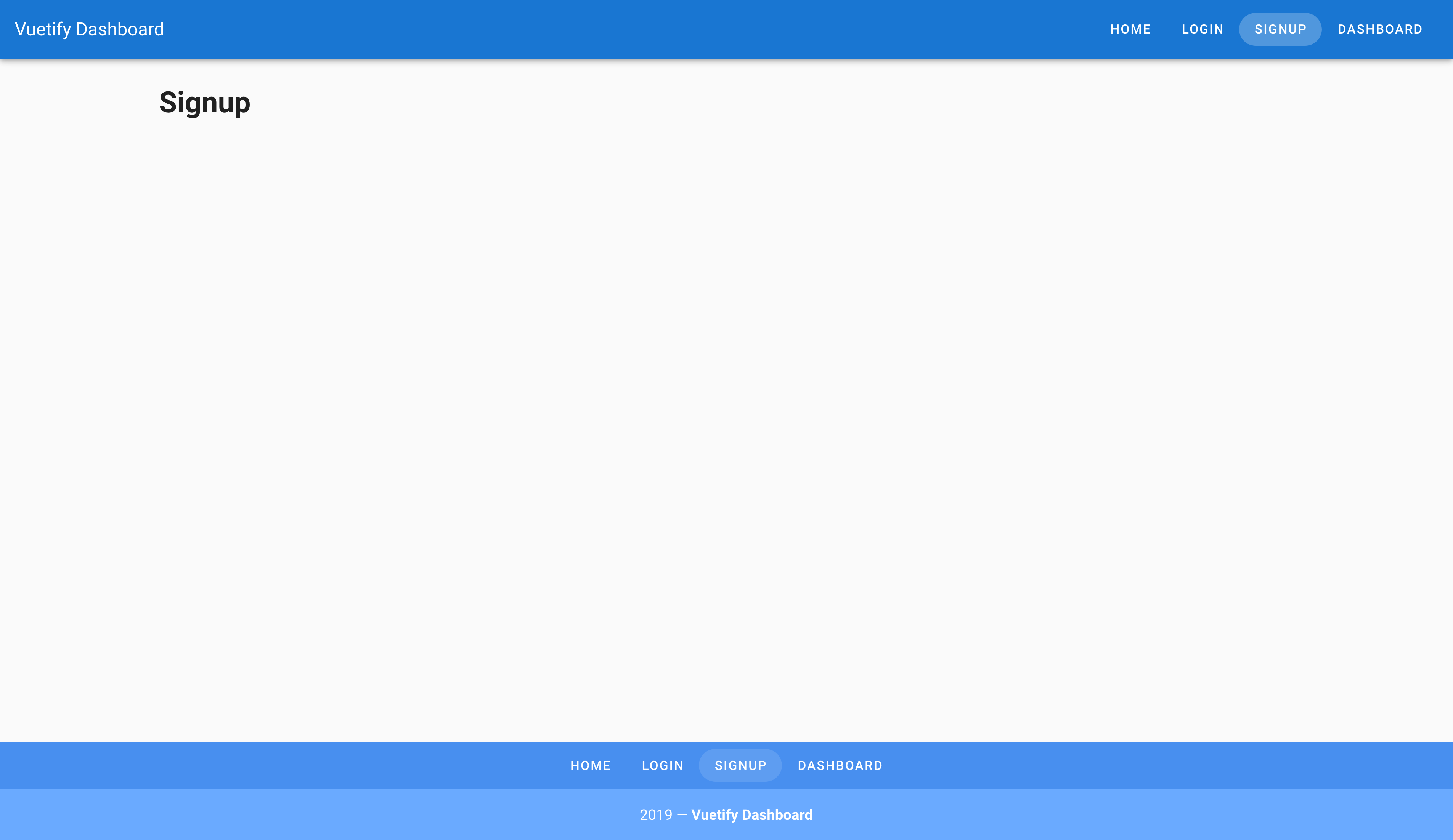 Screenshot of Signup page scaffolded