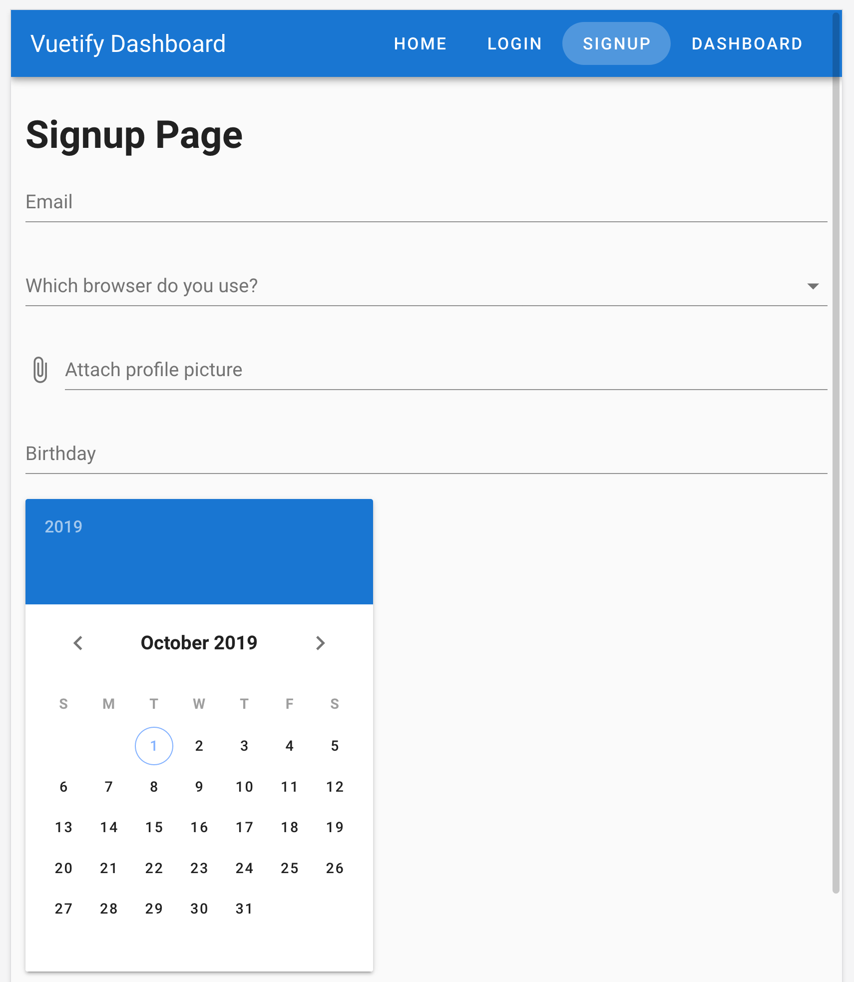 Screenshot of date picker component with text field paired with it