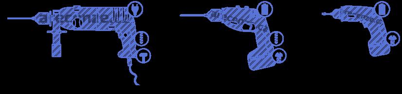 Obrázek zachycuje vzhled typů vrtaček a znázorňuje jejich funkce