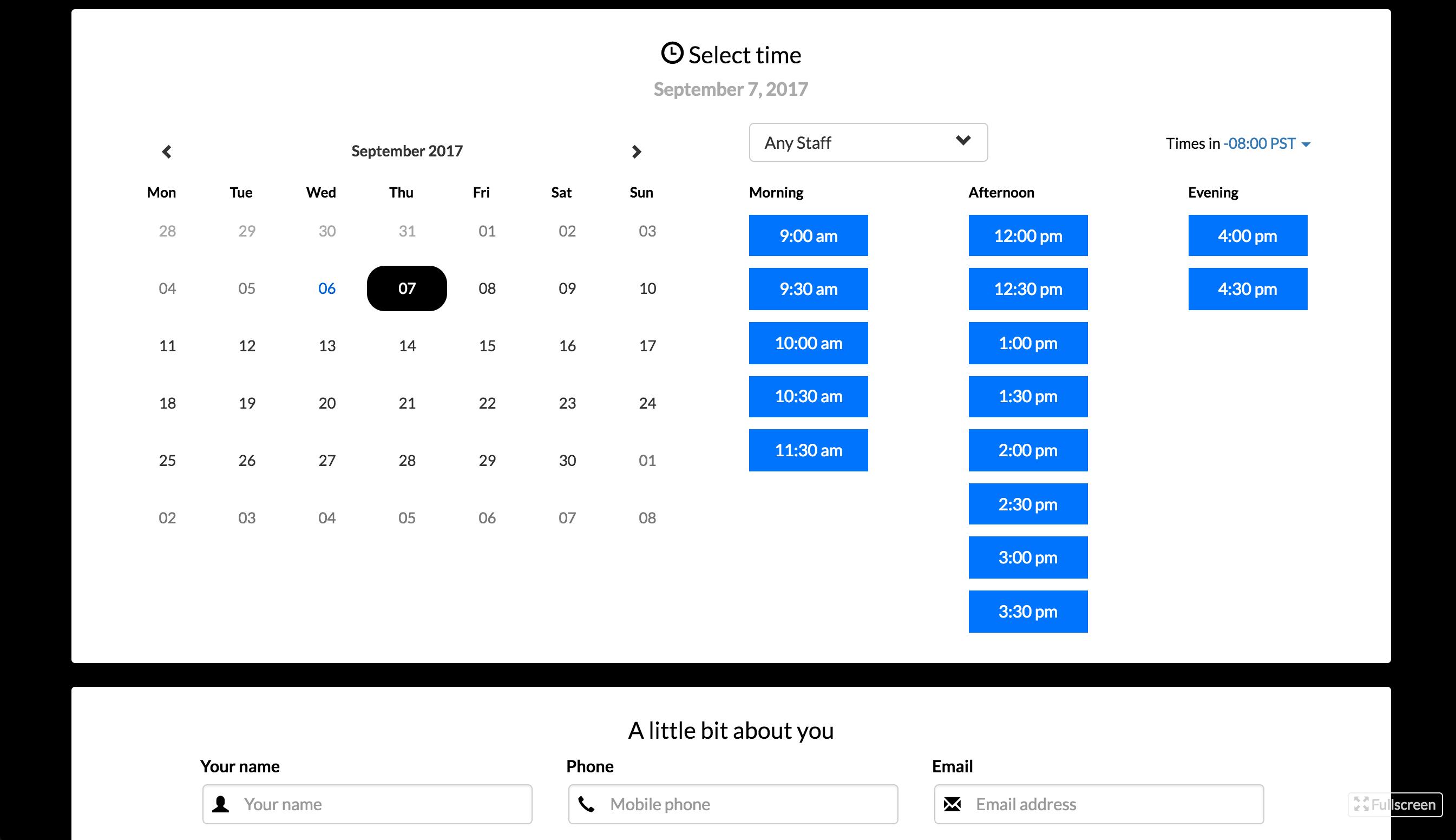 Booking scheduler