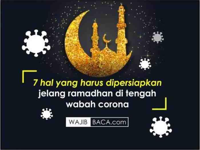 Catat, 7 Hal yang Harus Disiapkan Menjelang Ramadhan di Tengah Pandemi