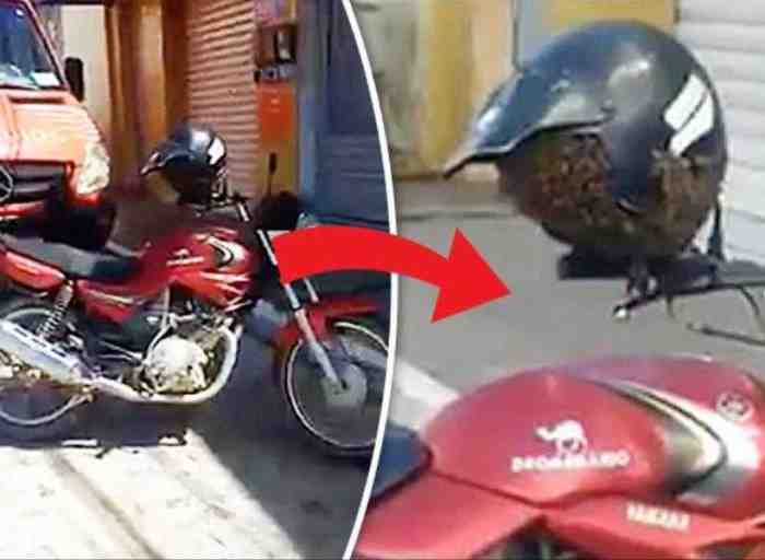 Awas, Jangan Simpan Helm di Spion Kalau Tak Mau Kejadian Seperti ini