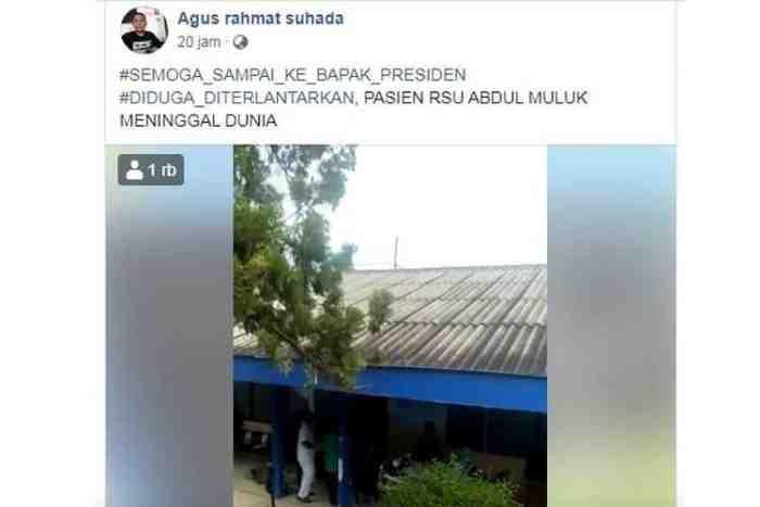 Pasien BPJS Meninggal Dunia, Diduga Ditelantarkan di RSAM Lampung
