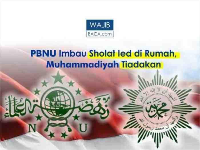 Dampak Corona, PBNU : Sholat Ied di Rumah, Muhammadiyah : Sholat Ied Ditiadakan