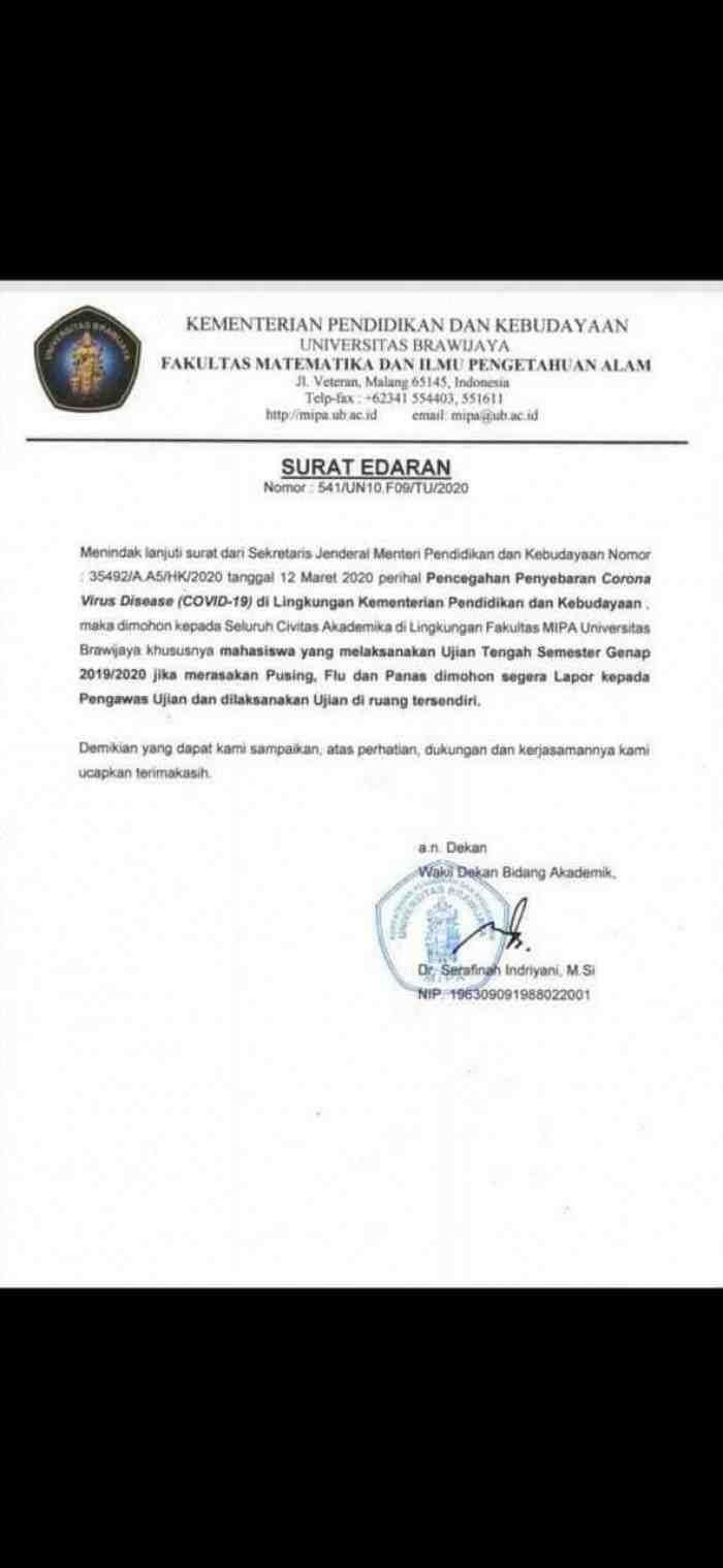 Geger, Mahasiswa Suspect Corona di Universitas Brawijaya Malang, Benarkah?