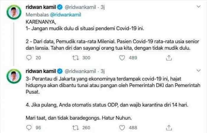 Viral, Ridwan Kamil Buktikan Mudik Bisa Sebarkan Virus Corona
