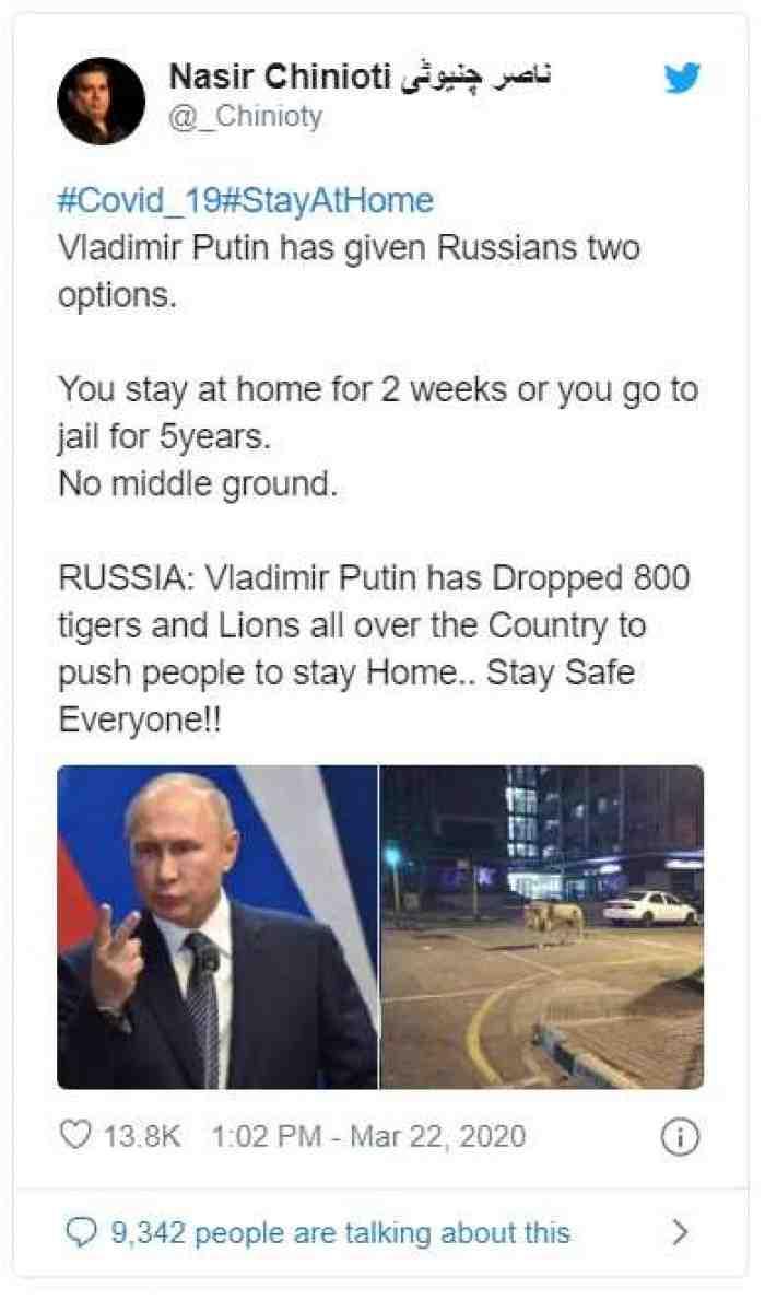 Putin Lepaskan Singa untuk Takuti Warga di Luar Rumah, Hoax?