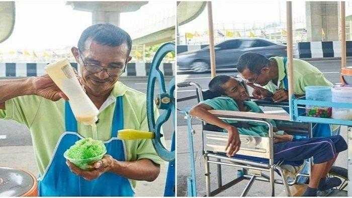 Ditinggal Istri Karena Anak Terlahir Cacat, Pria ini Rawat Anak Sambil Jualan Es Serut