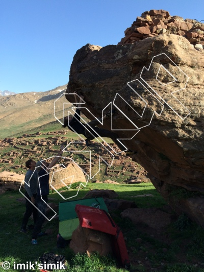 photo of Swing , V2+  at Swing from Oukaimeden Bouldering Morocco