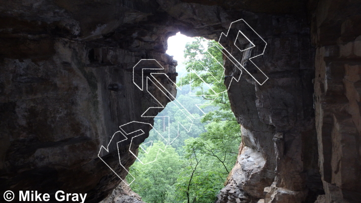photo of RUN-DMC Cave and Buttress from Reed's Creek