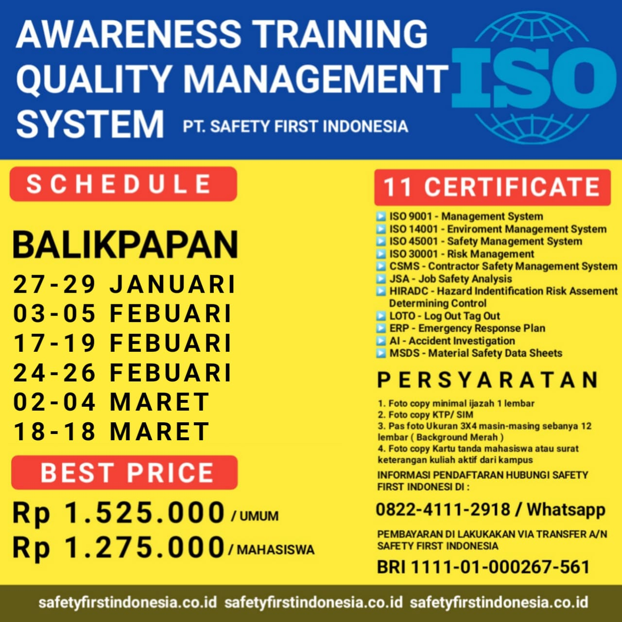 Awareness Training Quality Management System And Safety