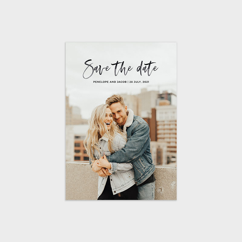 Save the Date Photo Card Template - Modern Minimalist Watercolor Script