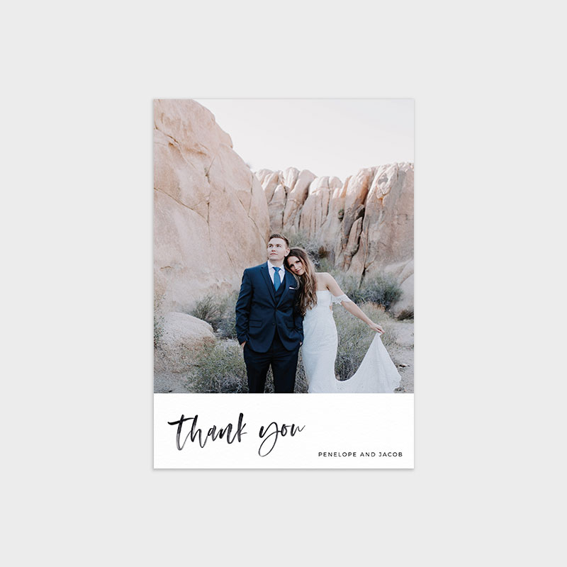 Photo Wedding Thank You Card Template - Modern Minimalist Watercolor