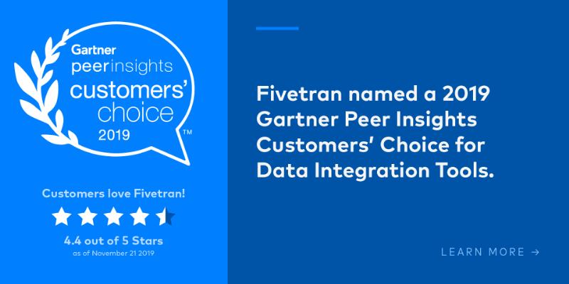 Fivetran Named 2019 Gartner Peer Insights Customers' Choice