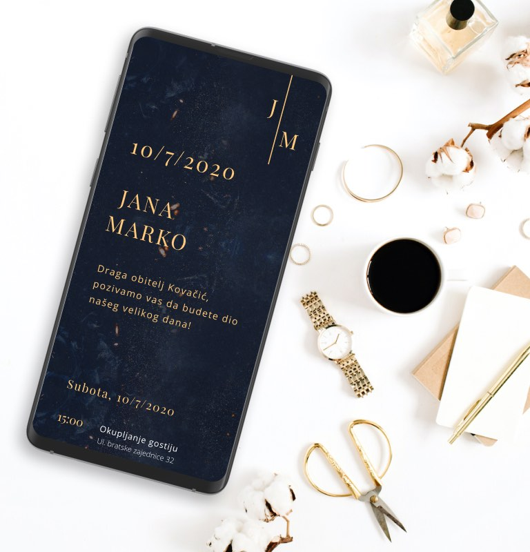 Dark Gold Wedding Invite Template
