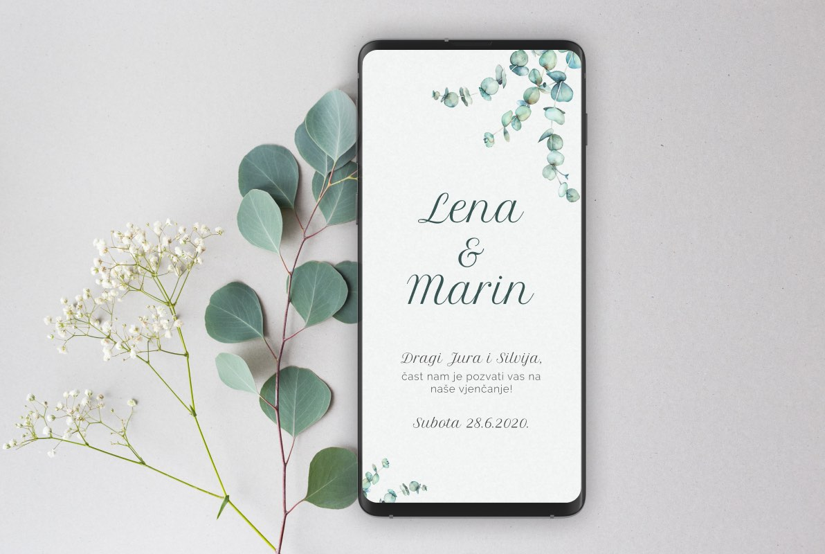Eucalyptus 3 Branches Wedding Invite Template