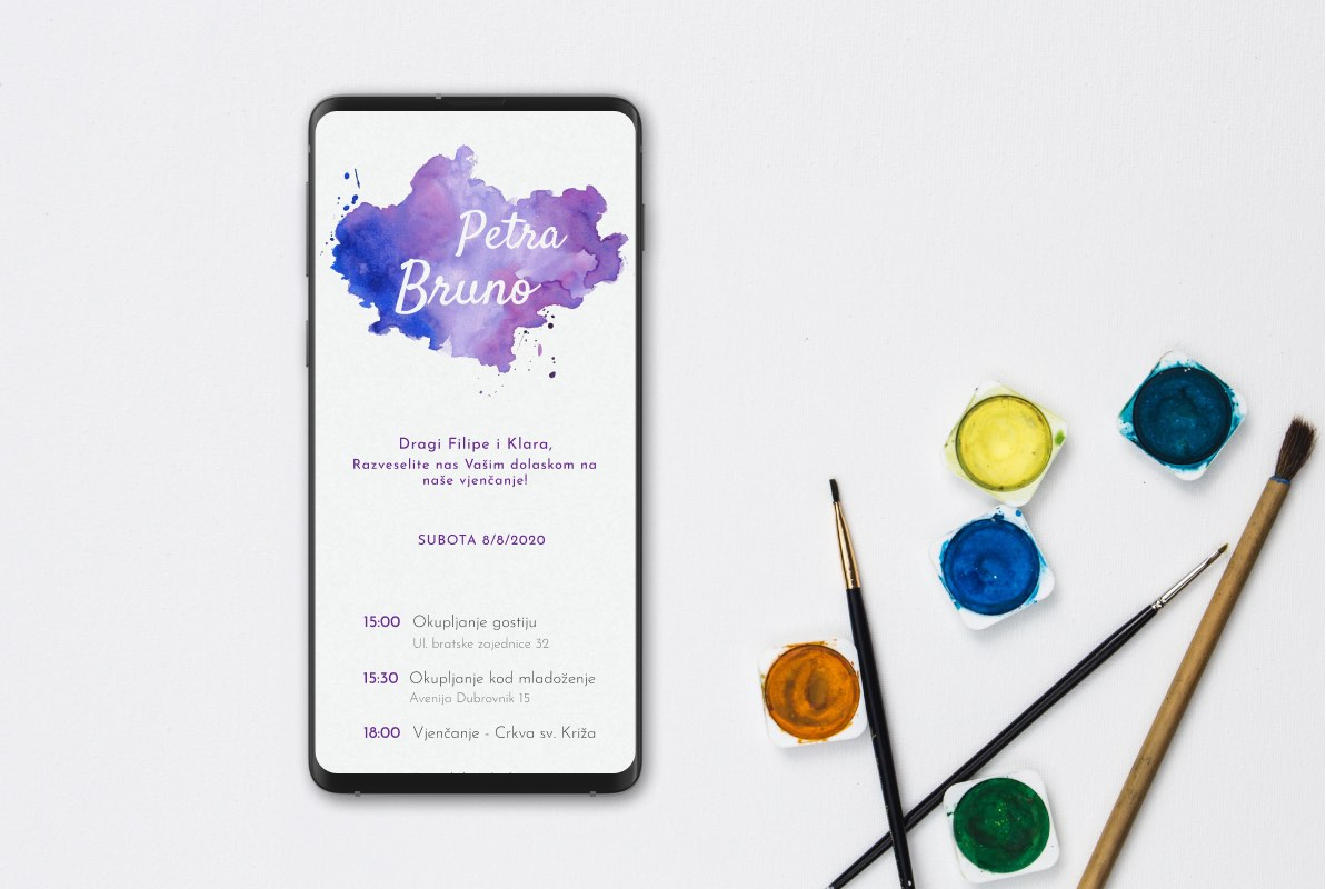 Purple Splash Wedding Invite Template