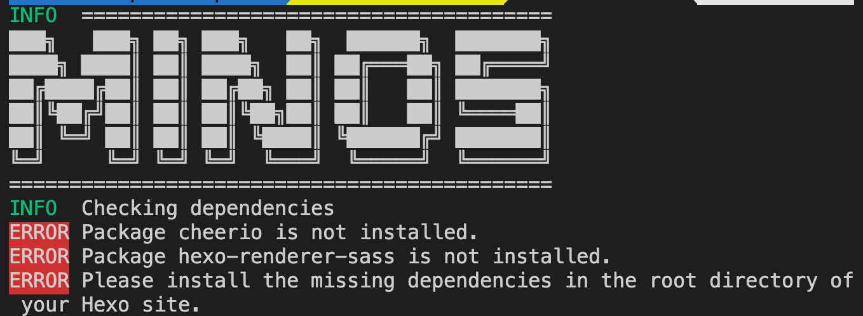 ERROR Package hexo-renderer-sass is not installed.