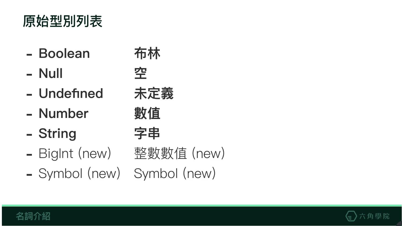 原始型別列表