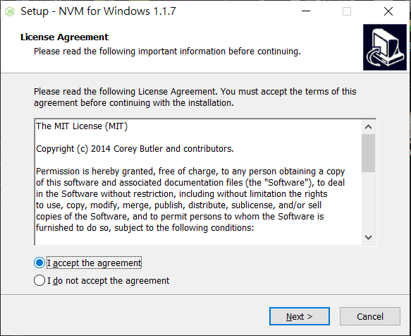 NVM 安裝畫面
