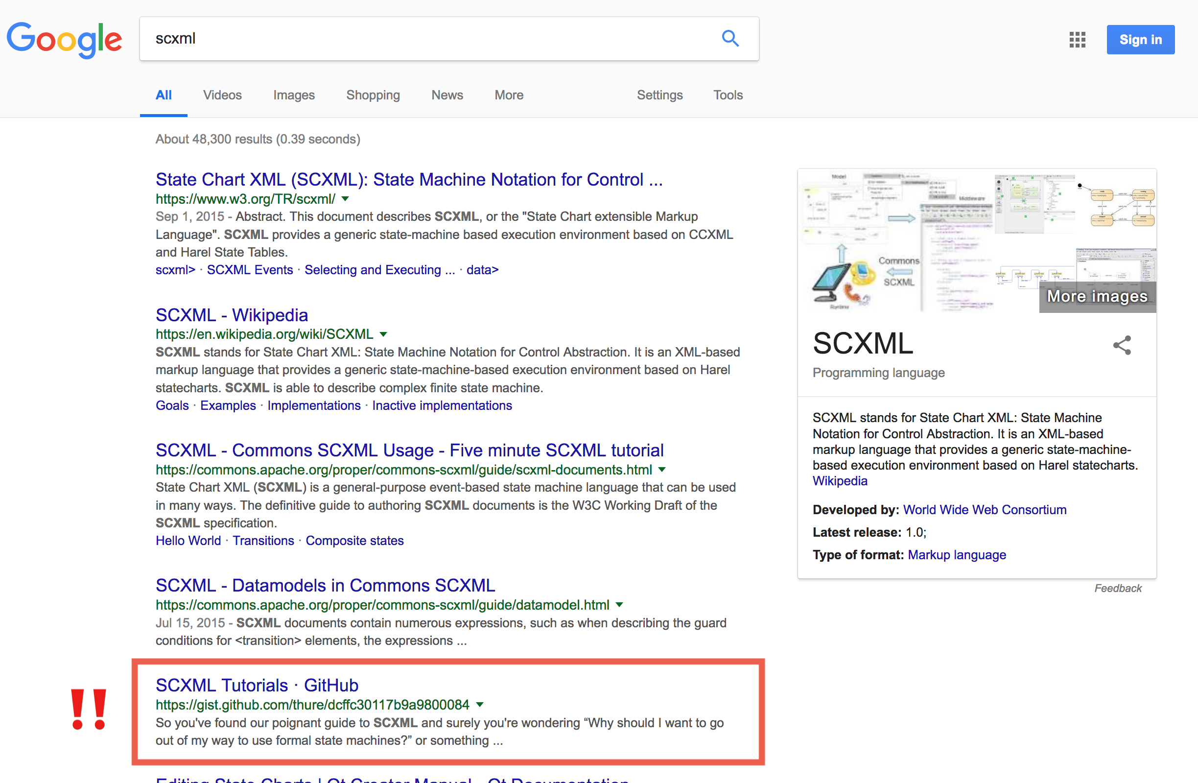 SCXML Tutorials as result №5 in Google