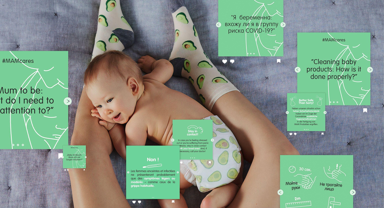 #MAMcares. Mutter mit Baby und Postings mit Tipps zu Covid-19