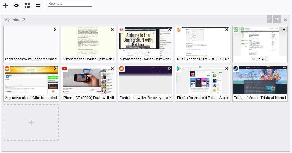 Screenshot of Firefox Panorama tab groups