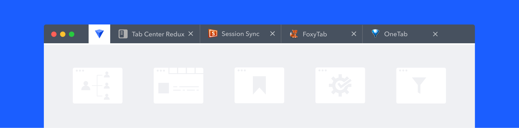 Visualization of top session manager apps in a Firefox browser interface