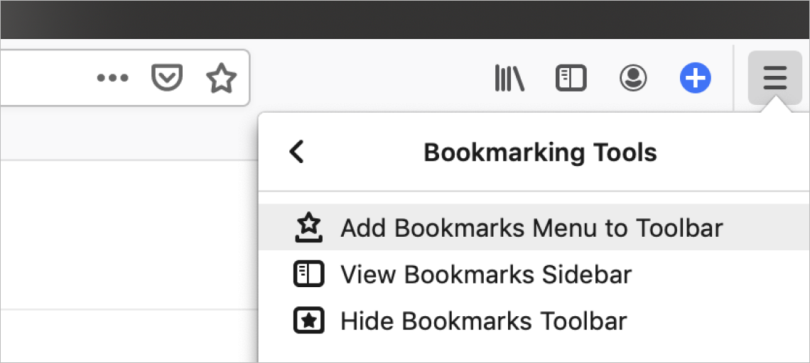 Firefox browser screenshot of the top-right menu displaying the option to add bookmark button to toolbar