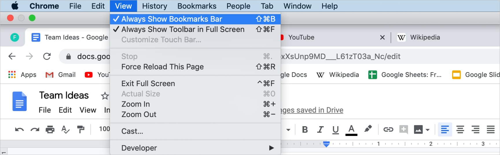 Screenshot of Google Chrome menu option to always show bookmarks bar