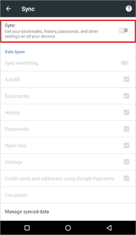 Screenshot of the iOS sync settings page in Chrome