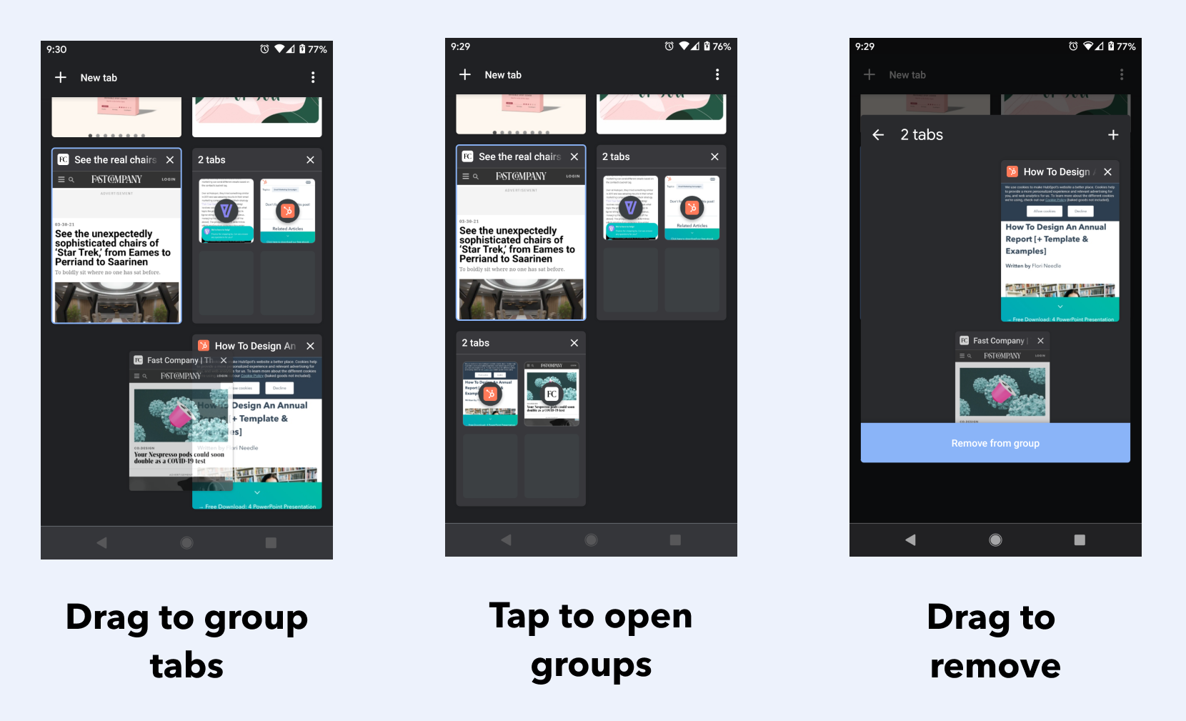 Visual instructions of how to use Chrome Tab Groups on Android: group tabs by dragging, open tab groups by tapping, and remove tabs by dragging