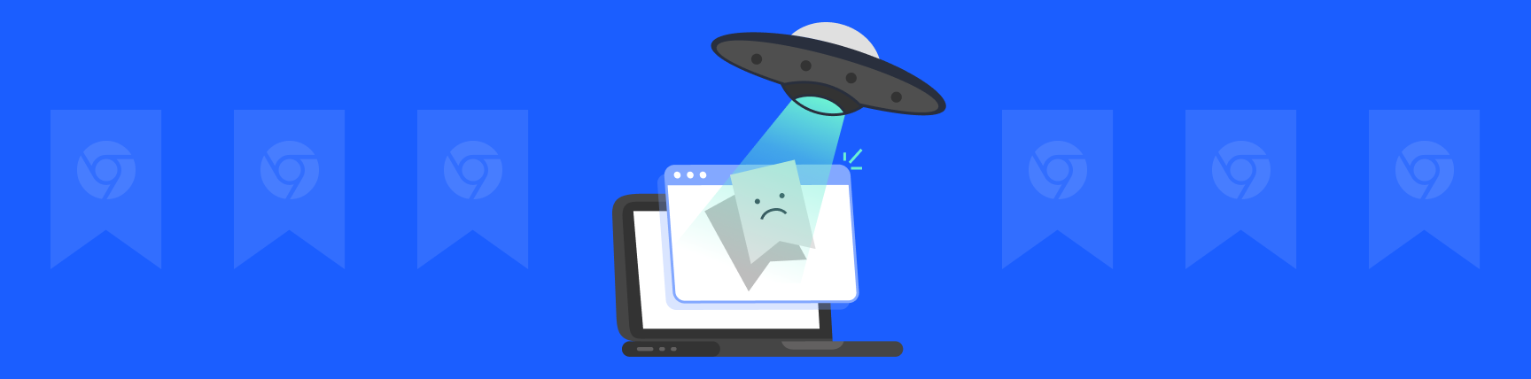 Illustration of Chrome bookmarks being abducted by an alien spaceship