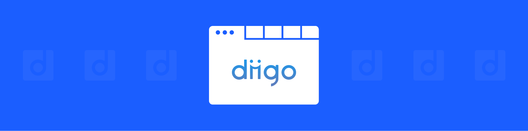 Diigo logo in a browser window with a blue background