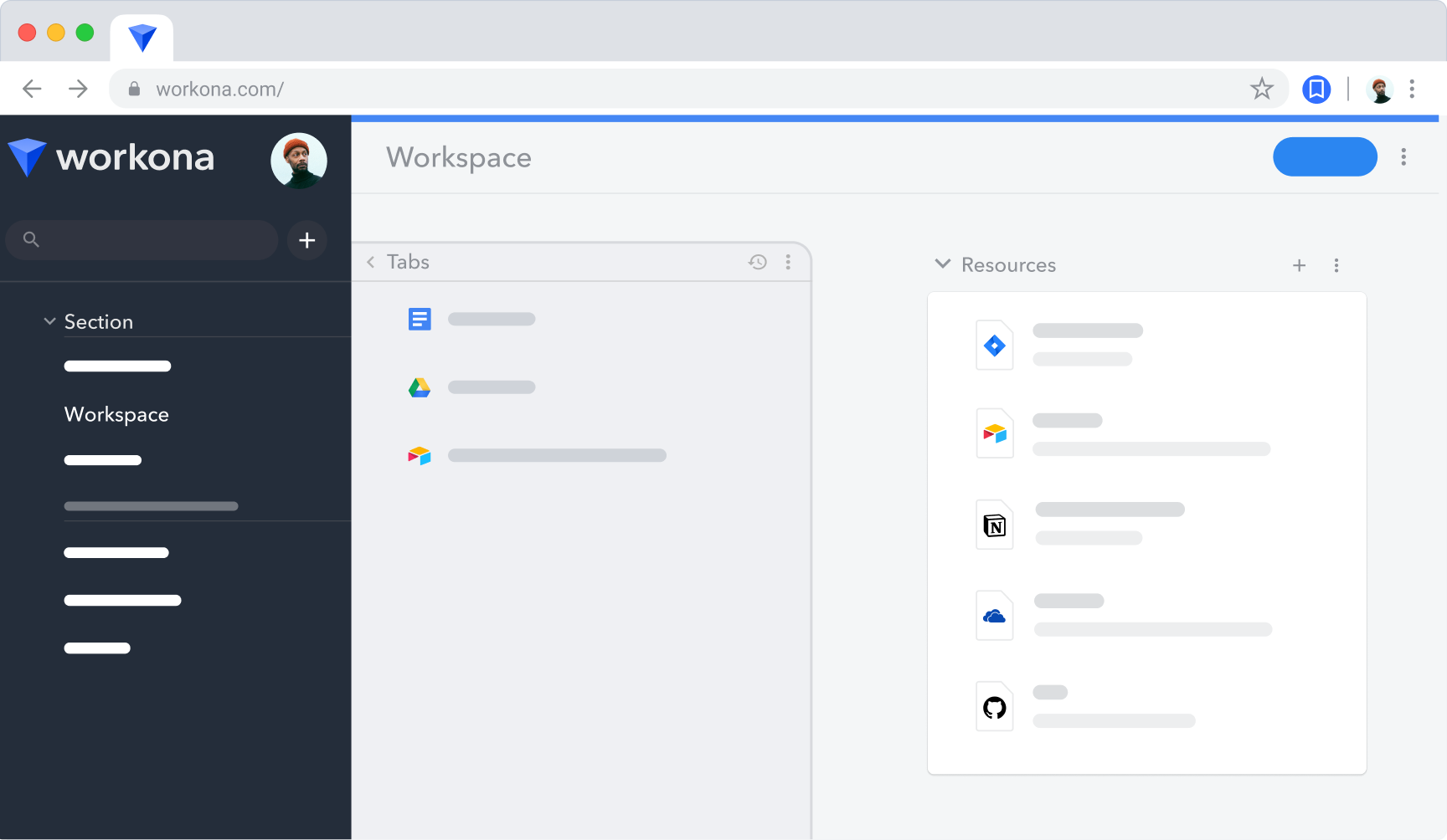 A simple rendering of the Workona interface, including workspaces, tabs, and resources