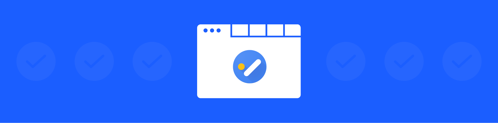 Google Tasks logo on white browser screen, surrounded by checkmark icons on a blue background