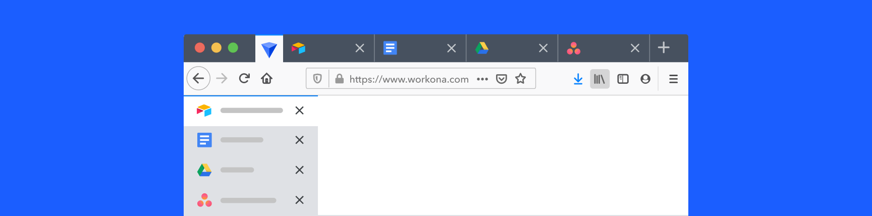 Illustration of vertical tabs in Mozilla Firefox