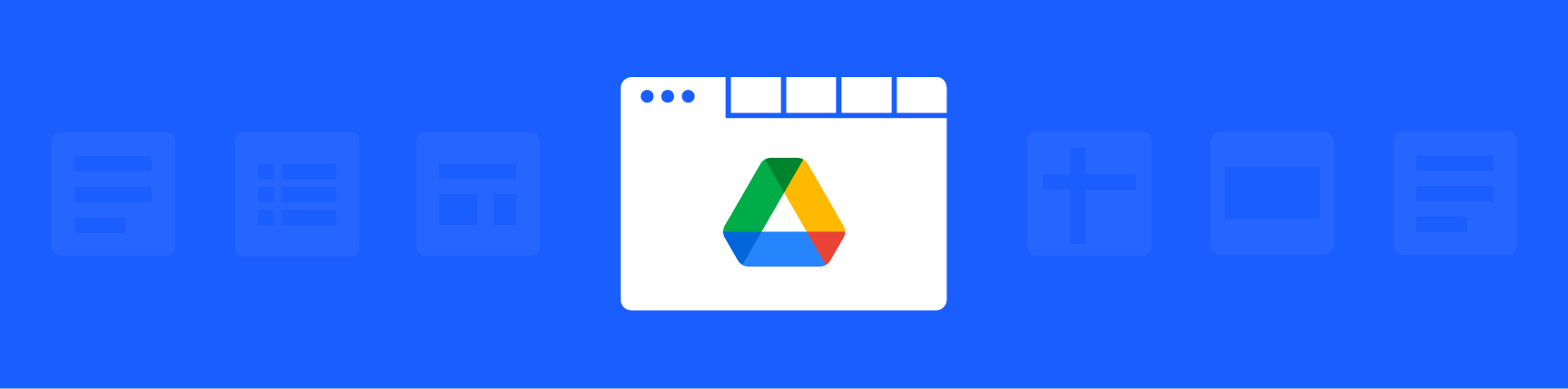 Google Drive logo with a background of Google product logos like Google Docs and Sheets