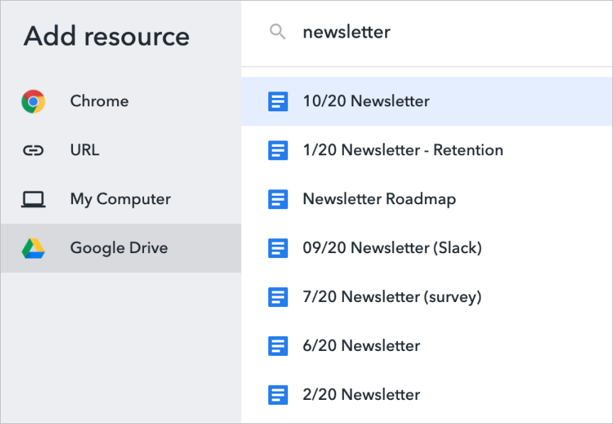 Workona Add Resource modal with Google Drive integration selected