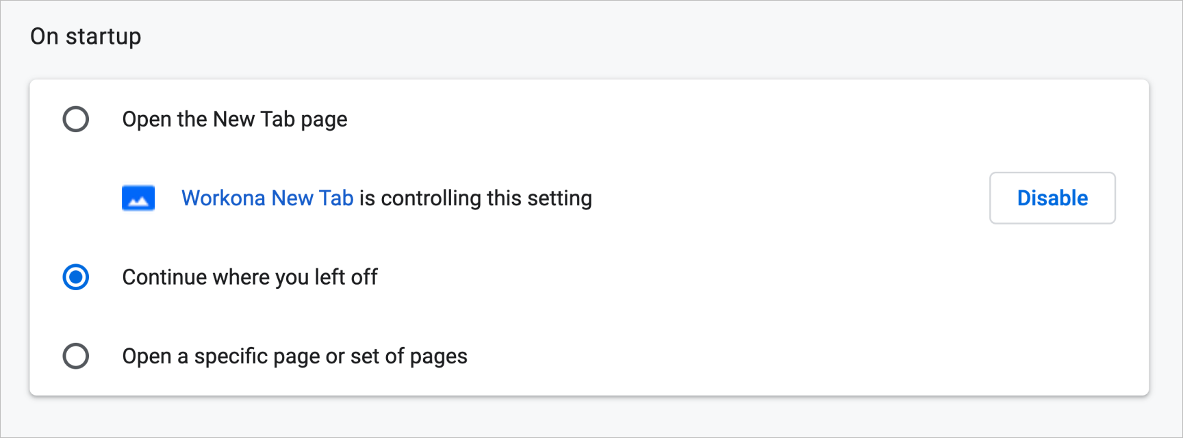Screenshot of Chrome setting 'Continue where you left off' enabled