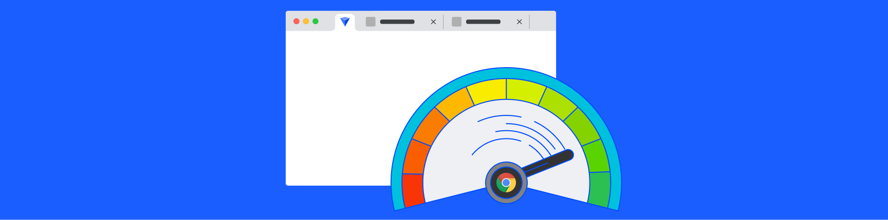 Google Chrome logo inside a meter showing memory usage