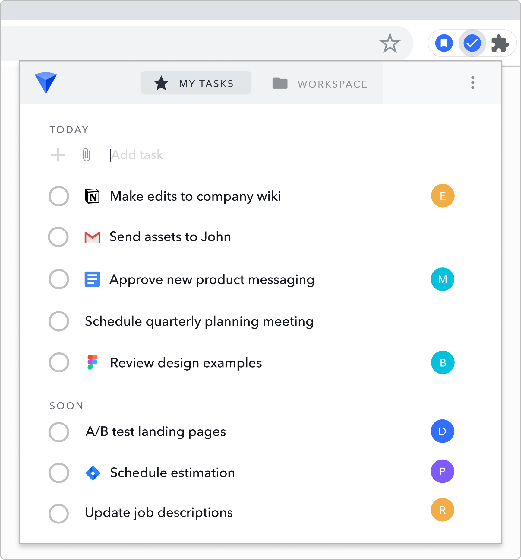 Image of My Tasks list in Workona, with separate sections for urgent tasks versus upcoming tasks