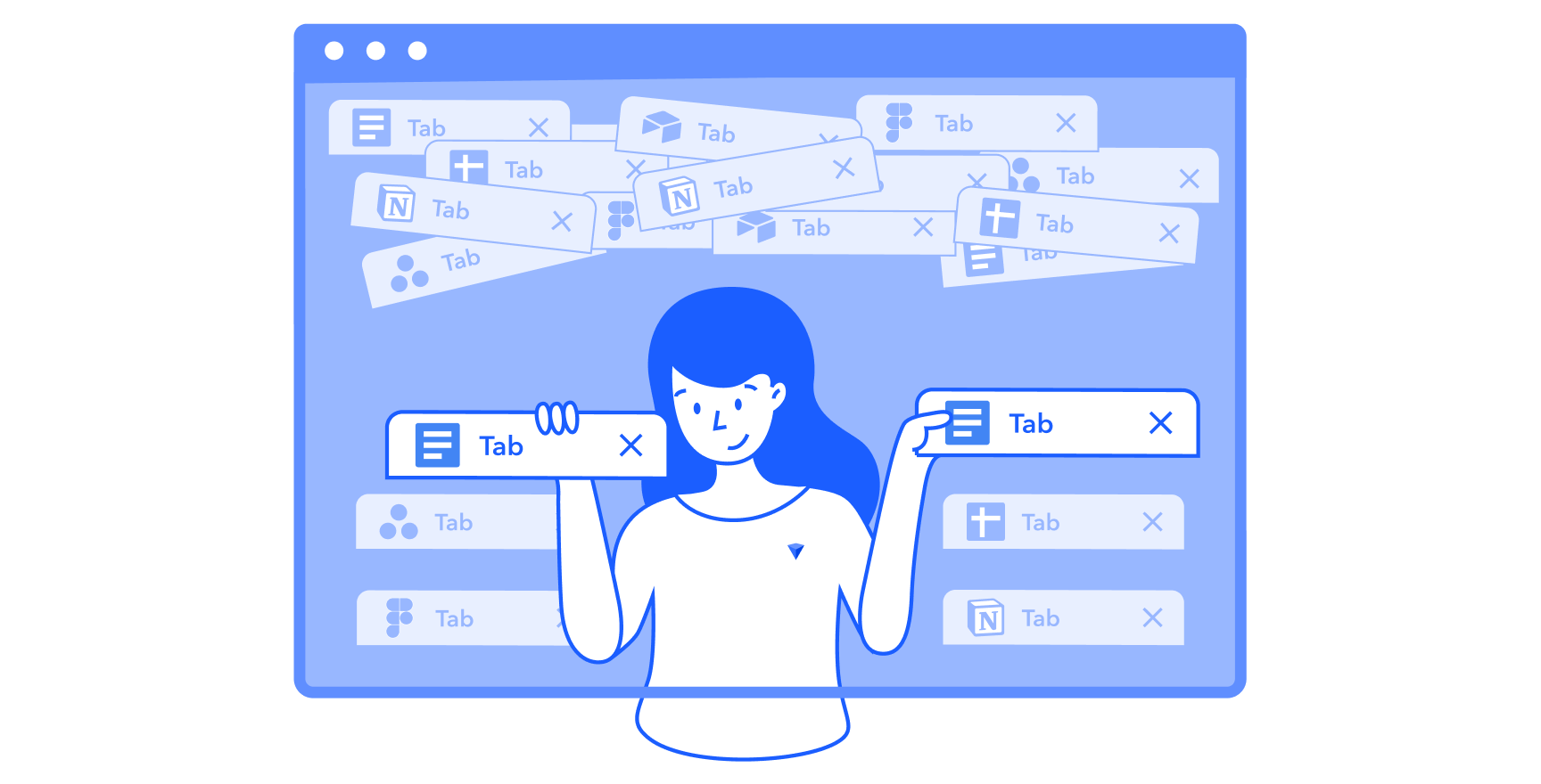 From a sea of disorganized browser tabs, a character organizes her tabs into neat sections