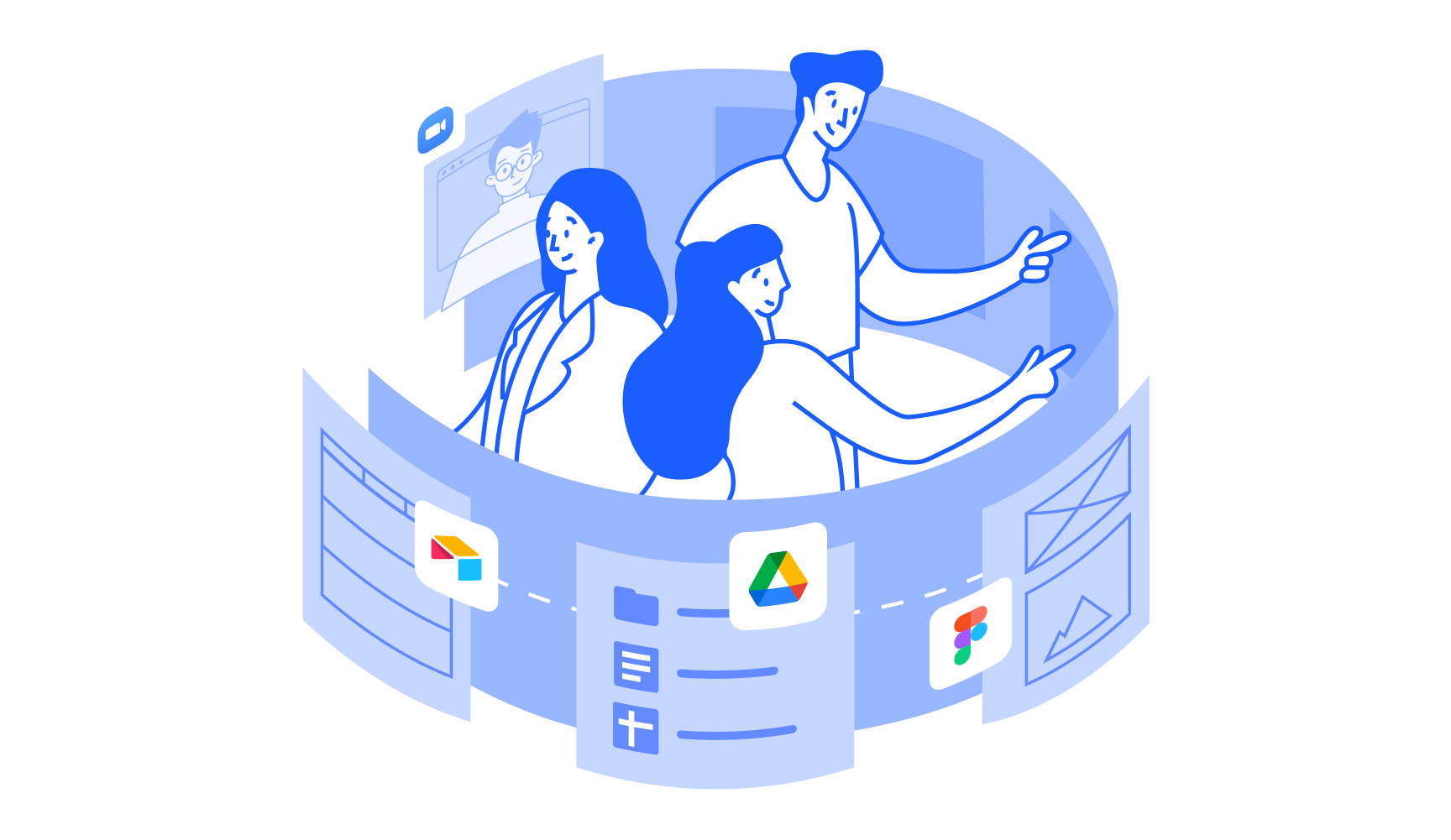 An illustration of a workspace surrounding a team with all their project work: docs, folders, video chats, etc.