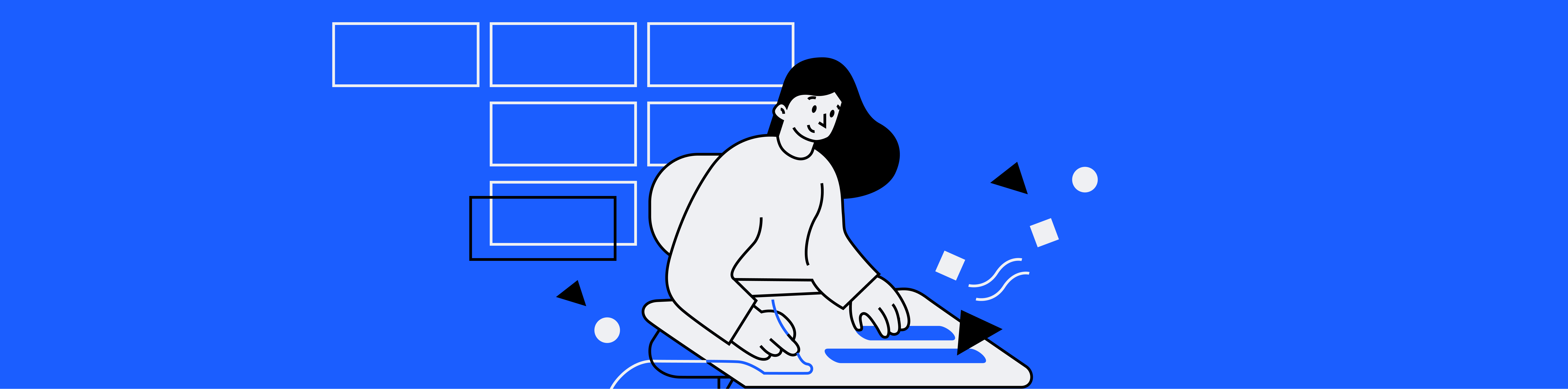 Woman sitting at a desk while writing, with abstract project management elements surrounding her