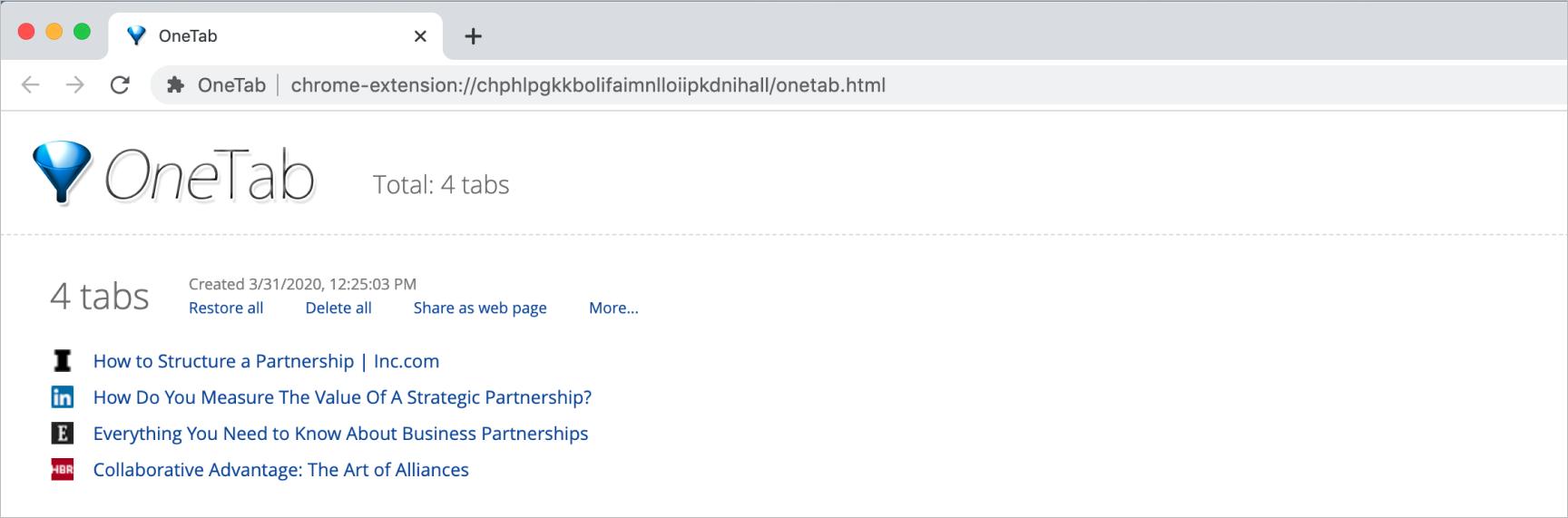 OneTab interface screenshot