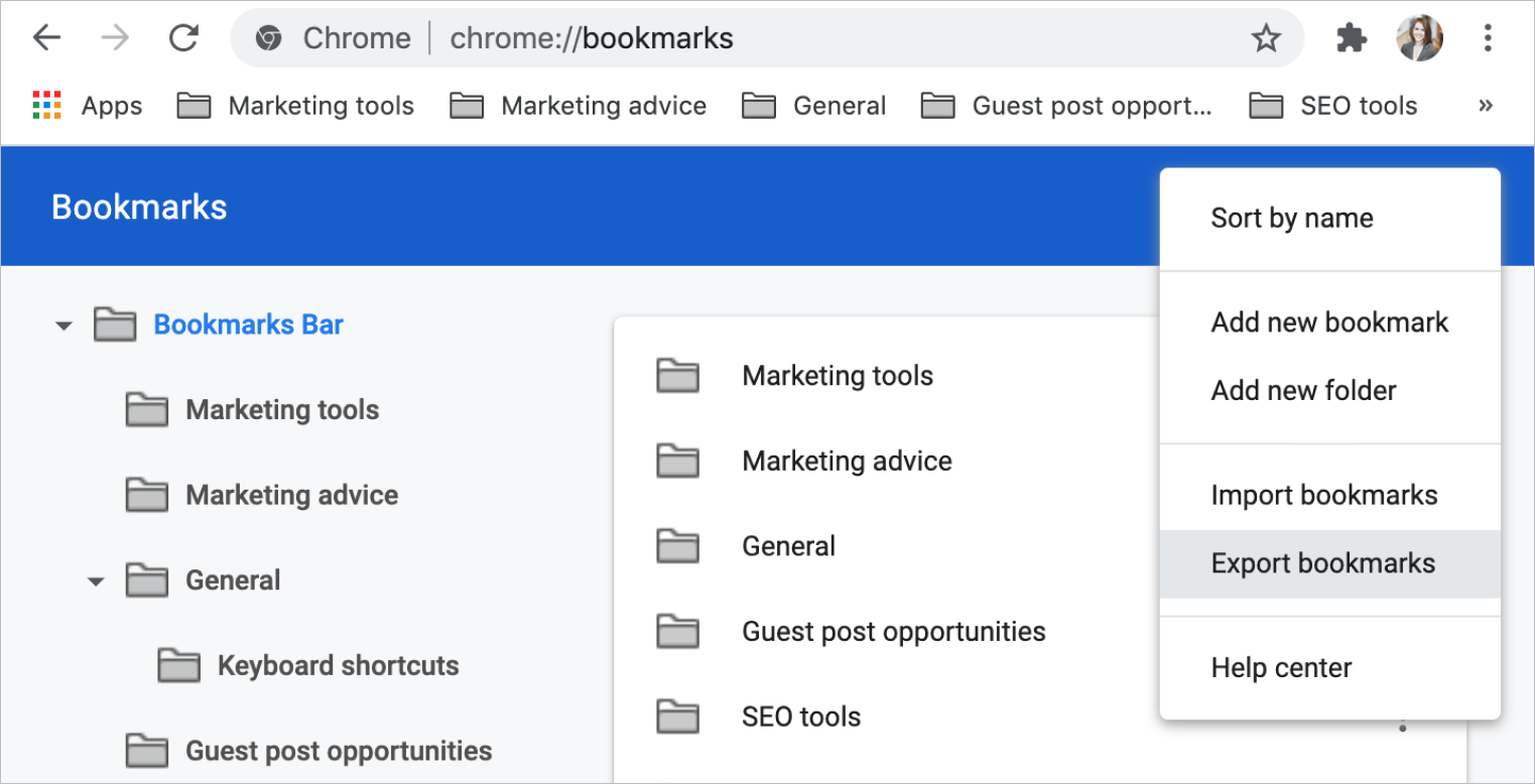 Screenshot of Google Chrome bookmark manager with the Export Bookmarks menu item selected