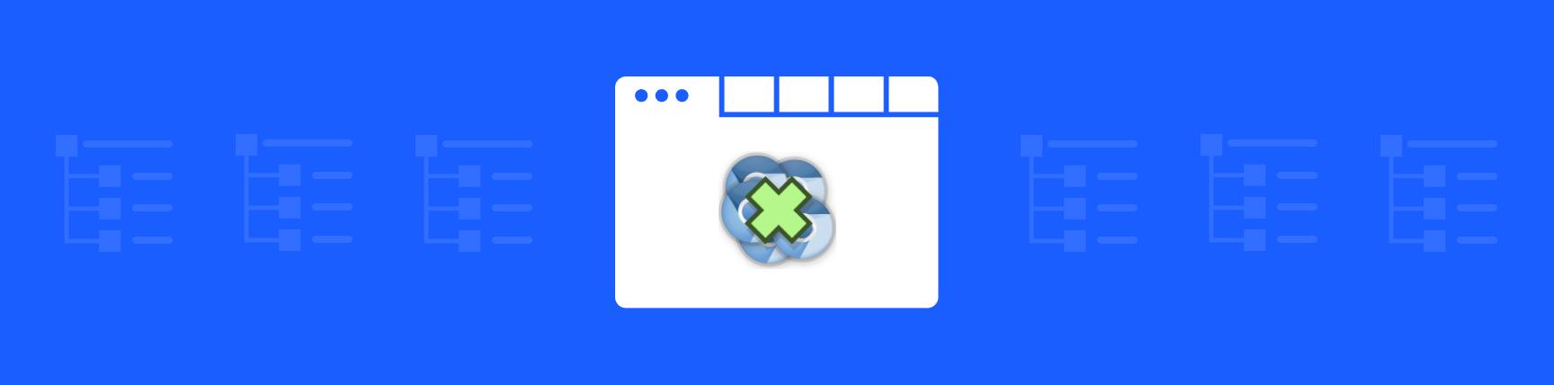 Tabs Outliner logo centered in a browser window, set against a blue background