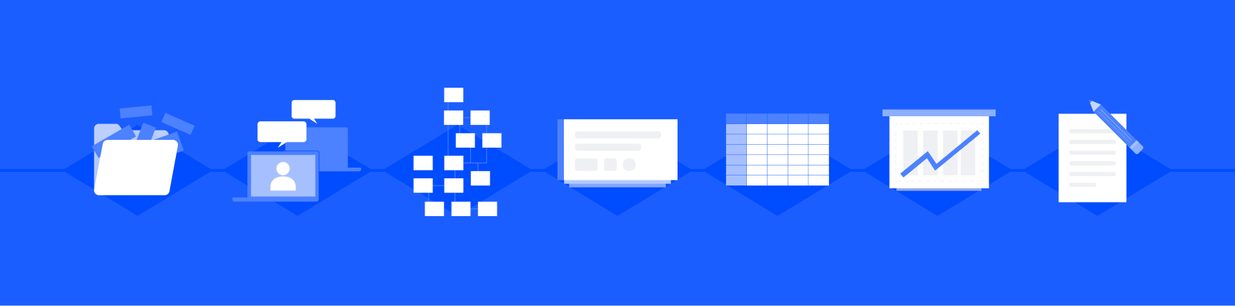 Workflow app visualization for teams including chat, collaboration, notes, and charts.